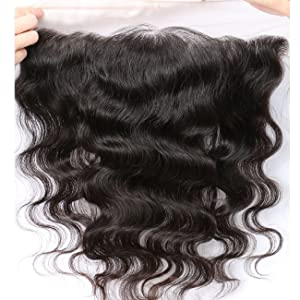 """Free Part Ear To Ear 13x4"""" Full Frontal Lace Closure Body Wave Bleached Knots With Baby Hair Unprocessed Brazilian Virgin Best Remy Real Human Hair Front Closures Top Extensions 8 inches Natural Color"""