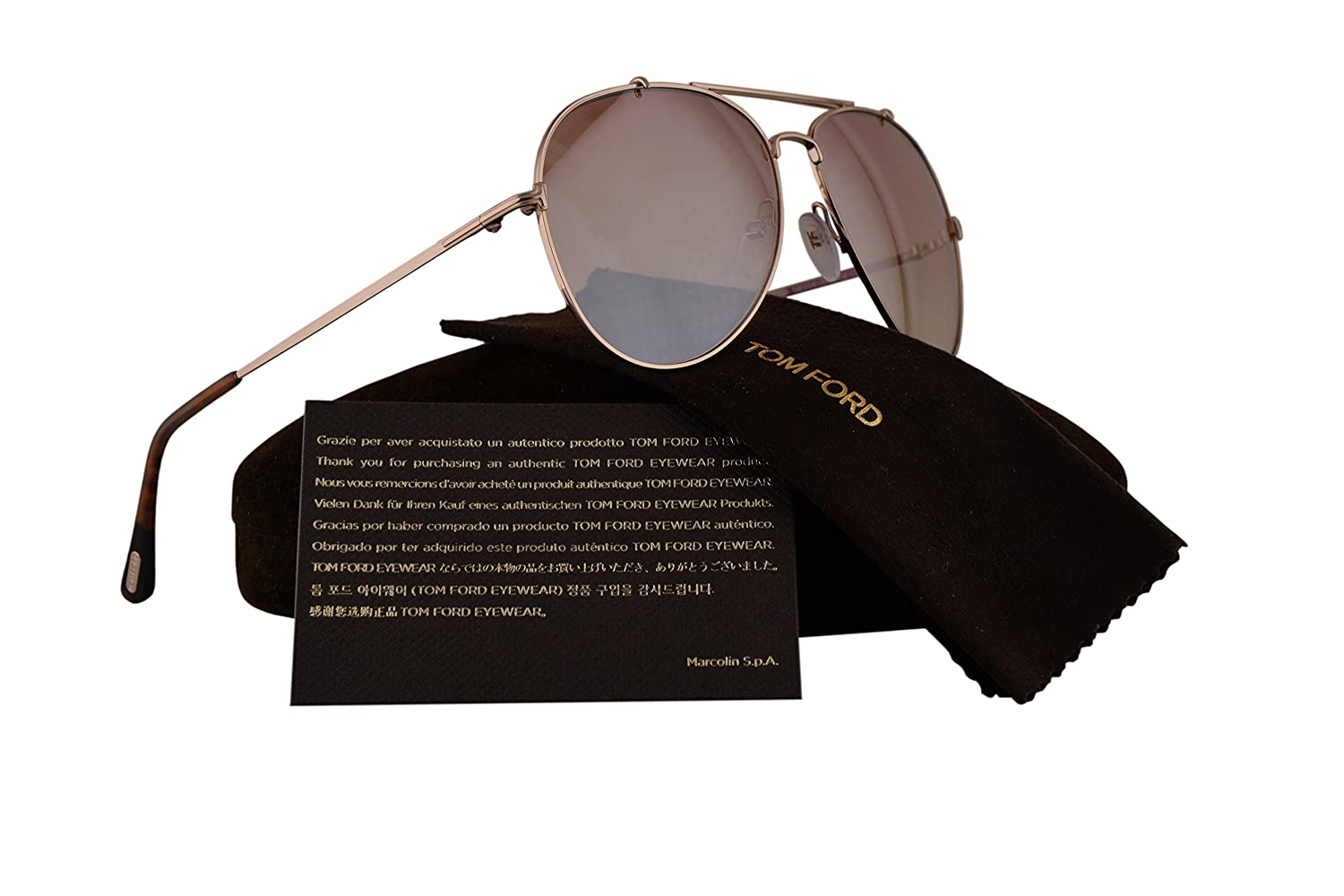 395e9bd077 Tom Ford FT0497 Indiana Sunglasses Gold w Light Brown Gradient Lens 28Z TF497  60mm  Amazon.co.uk  Clothing