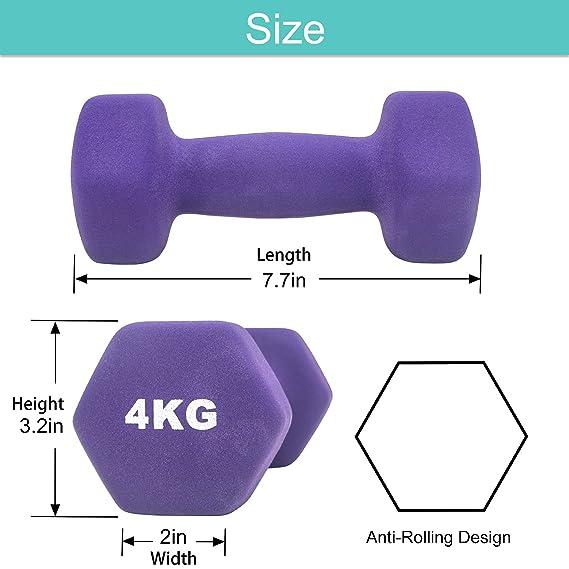 Arteesol Mancuernas 1kg 2kg 3kg 4kg 5kg 8kg Pesas de Neopreno1 Par para Hombres y Mujeres (Púrpura-2x4kg): Amazon.es: Deportes y aire libre