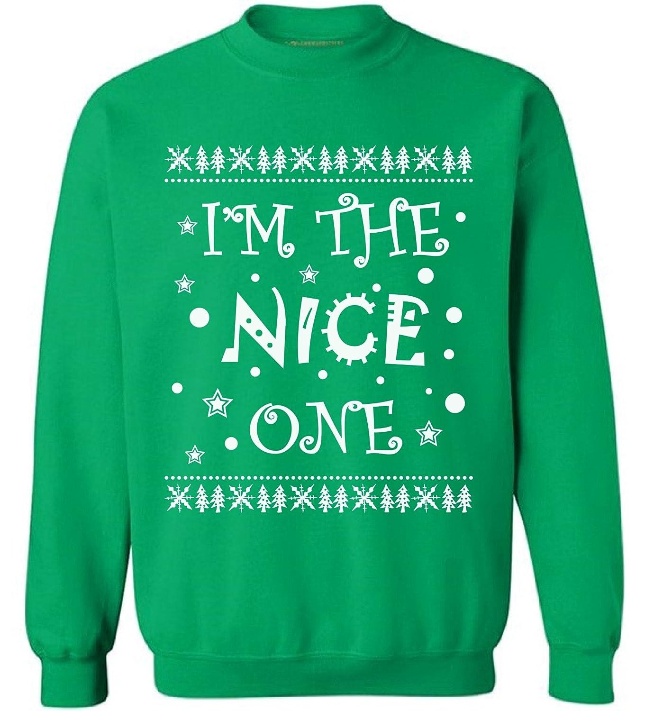 Awkward Styles Unisex Im The Nice One Sweatshirt Ugly Christmas Sweater Nice Naughty Christmas Sweatshirt