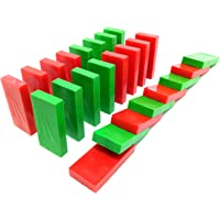 Red & Green Contrast | Toppling Dominoes | 100 Pcs | Square Edge
