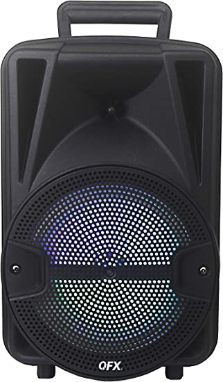 """QFX PBX-BF9SM 9"""" Portable Bluetooth Party Sound System with Tripod Stand  and Wireless Microphone"""