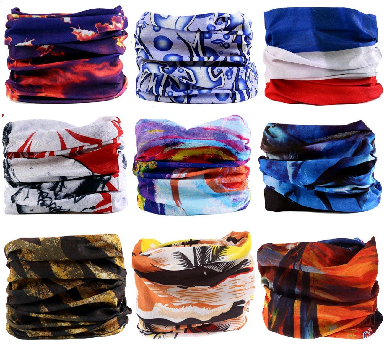 KINGREE 9PCS Headbands Womens Hairband Outdoor Multifunctional Headwear Athletic Headwrap Sports Magic Scarf Mens Sweatband High Elastic Headband with UV Resistance
