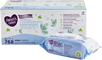 Parents Choice Sensitive Aloe Baby Wipes (768 Count)