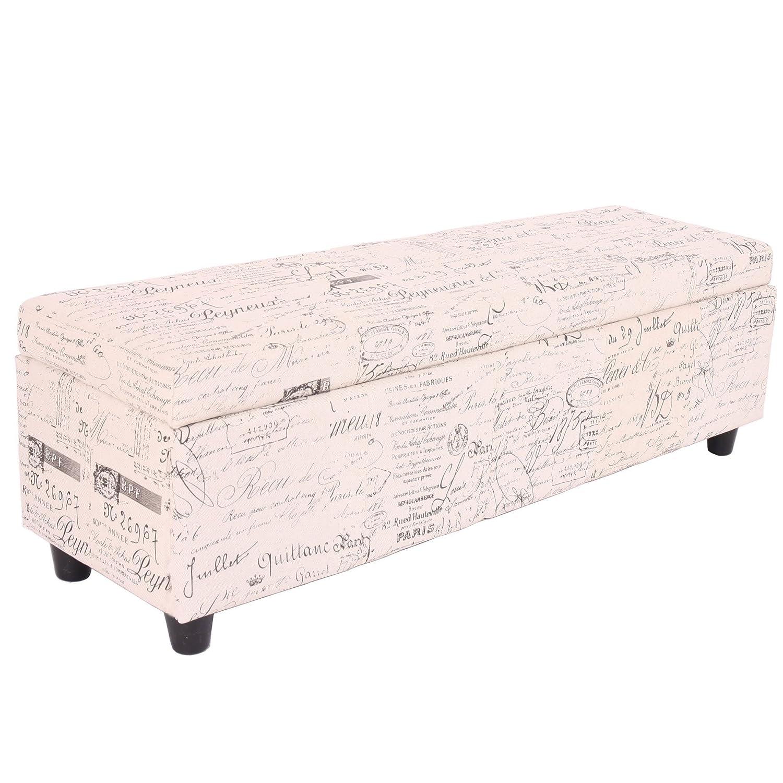 Banc-banquette-coffre de rangement Kriens - 112x45x45cm - tissu - crème - jacquard noir