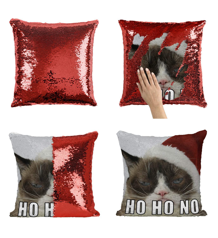 Funny Grumpy Cat Christmas Memes.Christmas Grumpy Cat Meme C12 Sequin Pillow Merdmaid Magic