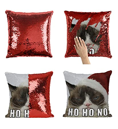 Funny Grumpy Cat Christmas Memes.Christmas Grumpy Cat Meme C12 Sequin Pillow Merdmaid Magic Pillow Sequins Pillowcase Gift For Him Or Her Funny Present Christmas Or Birthday
