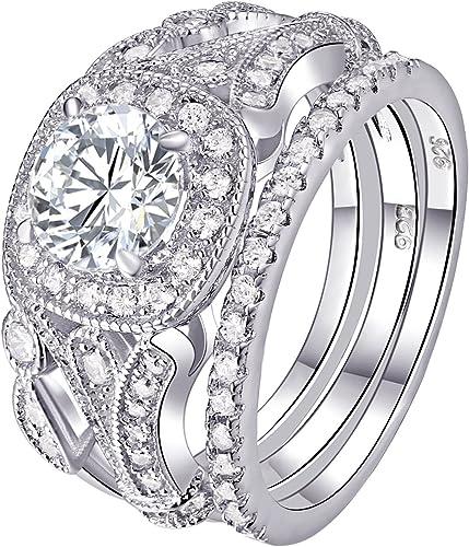 Women Fashion 925 Silver Round Ring Engagement Wedding Sparkly Diamond Jewellery