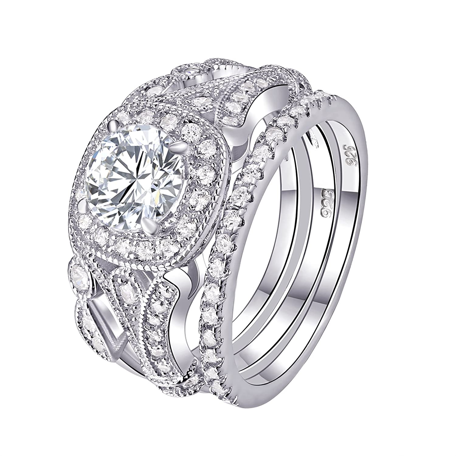 Newshe Wedding Rings for Women Engagement Set 925 Sterling Silver 2ct Round White AAA Cz Size 5-12 Newshe Jewellery JR4681_SS