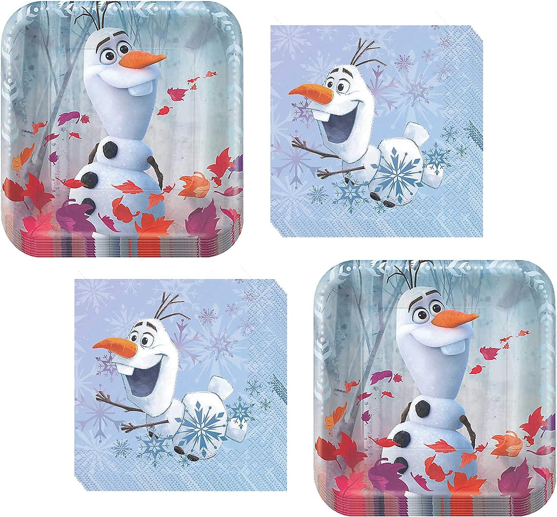 Frozen Party Supplies - Frozen II Metallic Paper Dessert Plates and Beverage Napkins (Serves 16)