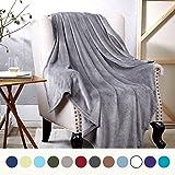 Bedsure Flannel Fleece Luxury Blanket Grey Twin Size Lightweight Cozy Plush Microfiber Solid Blanket
