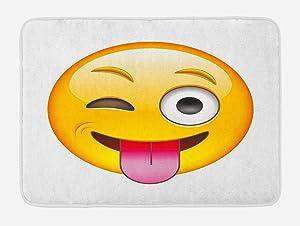 Ambesonne Emoji Bath Mat, Cartoon Like Smiling Flirty Sarcastic Happy Face Tongue Modern Illustration Print, Plush Bathroom Decor Mat with Non Slip Backing, 29.5