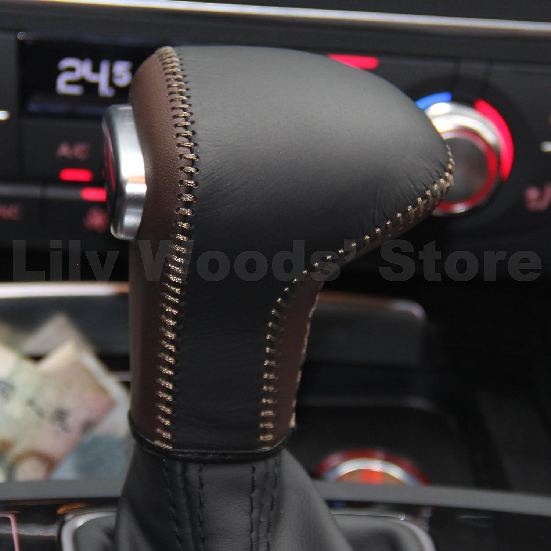JI Loncky Leather Gear Shift Knob Cover for 2013-2016 Audi A4 Audi A5 //2012-2015 A6 //2012-2015 A7 //2013-2016 Q5 //2012-2015 Q7 //2013-2015 S6 //2013-2015 Audi S7 //2013-2016 Allroad Automatic Accessories