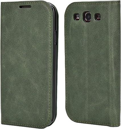Mulbess Funda Samsung Galaxy S3 [Libro Caso Cubierta] Slim de Billetera Cuero Carcasa para Samsung Galaxy S3 / S3 Neo Case, Verde: Amazon.es: Electrónica