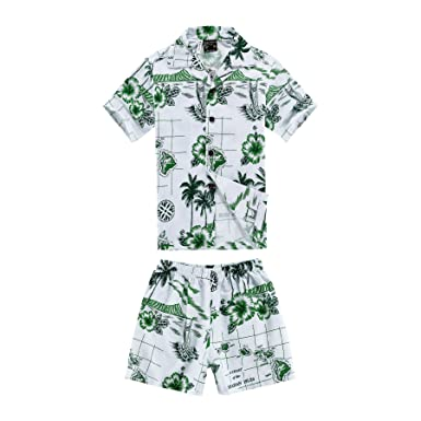 d5a2be7dd340 Boy Hawaiian Shirt and Shorts 2 Piece Cabana Set in White with Green Boat  and Diamond