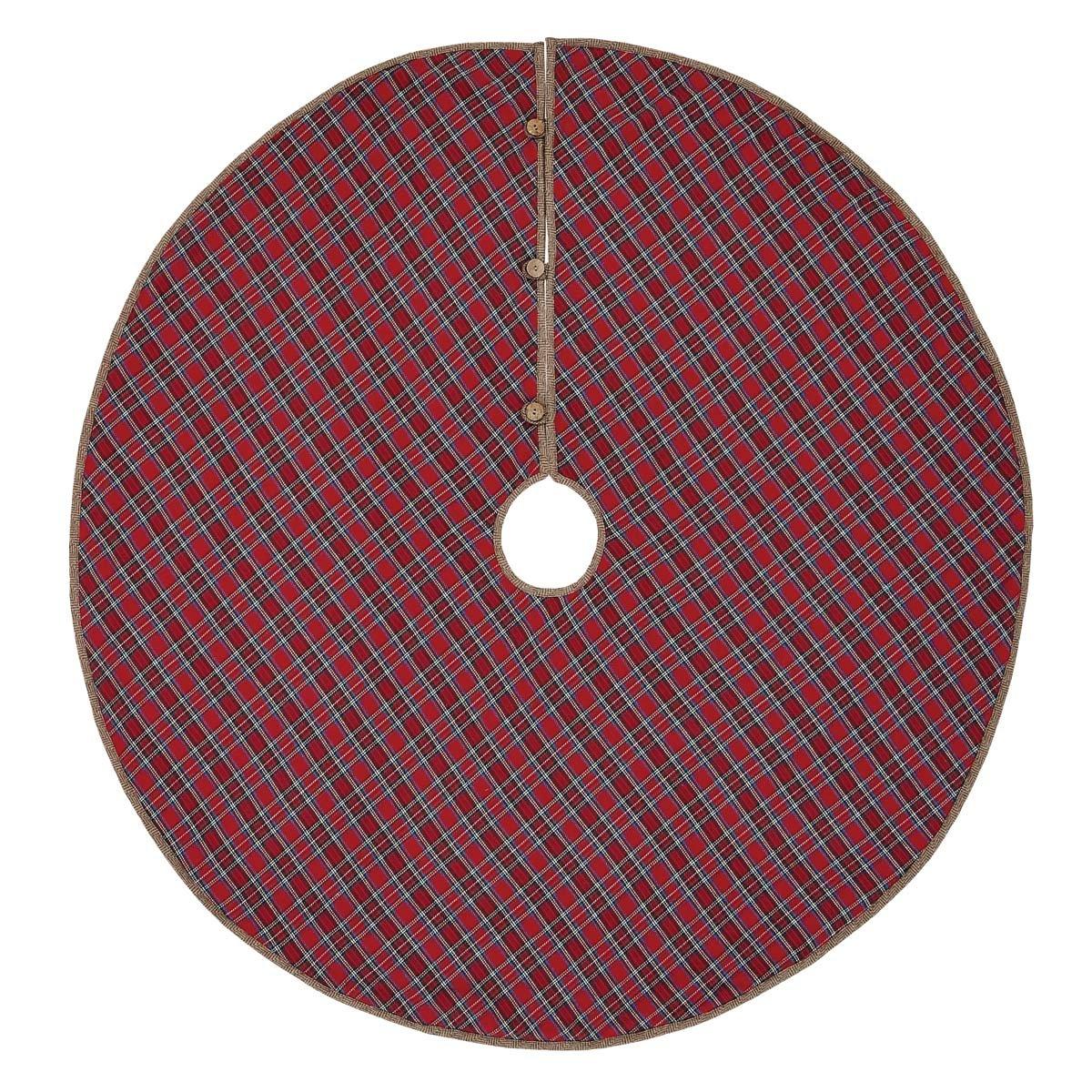 VHC Brands Christmas Holiday Decor-Gavin Tree Skirt, 55'' Diameter, Red