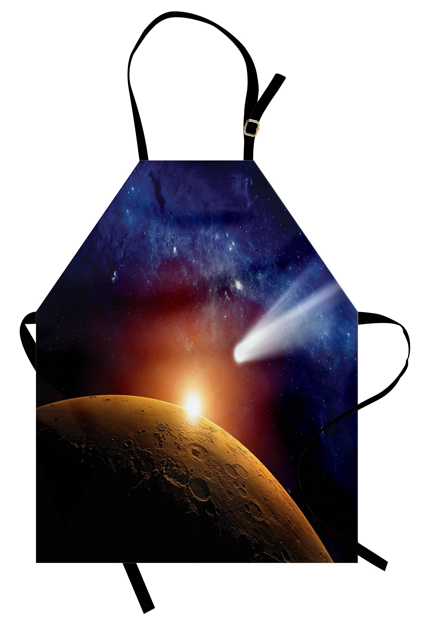 Ambesonne Outer Space Apron, Comet Tail Approaching Planet Mars Fantastic Cosmos Dark Solar System Scenery, Unisex Kitchen Bib Apron with Adjustable Neck for Cooking Baking Gardening, Bue Orange