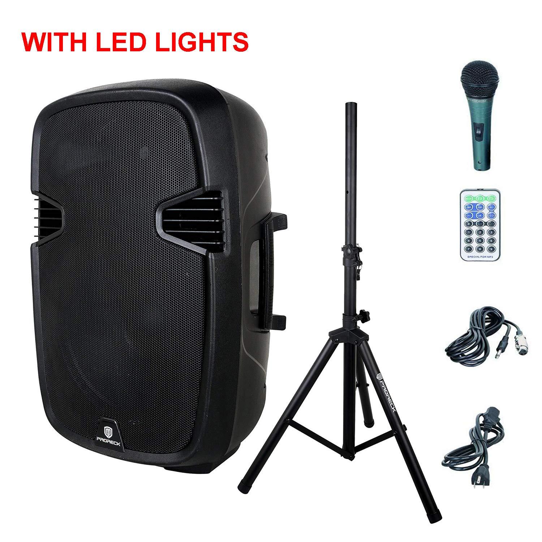 PRORECK PR-C15 Portable 15-inch 600 Watt 2-way Powered Dj/PA Speaker with Bluetooth/USB/SD Card Reader/FM Radio/Remote Control/LED Light/Speaker Stand, Black by PRORECK
