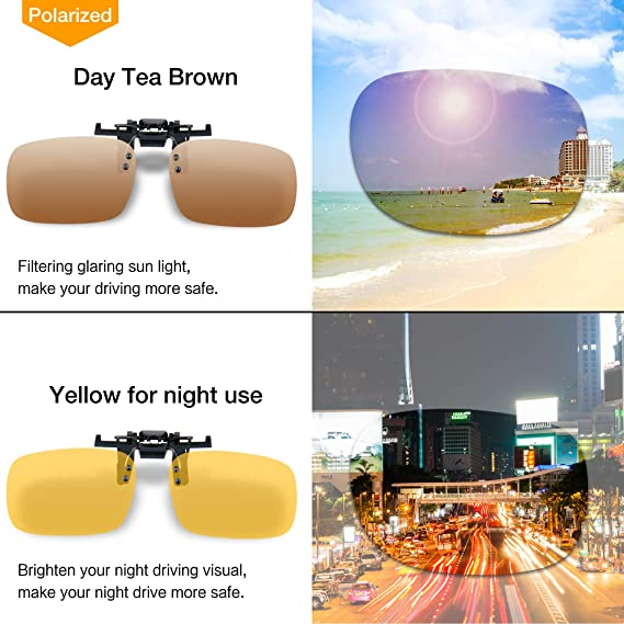 Splaks Clip-on Sunglasses, Unisex Polarized Frameless Rectangle Lens Flip Up Clip on Prescription Sunglasses Eyeglass, 2-Piece Clip on Glasses
