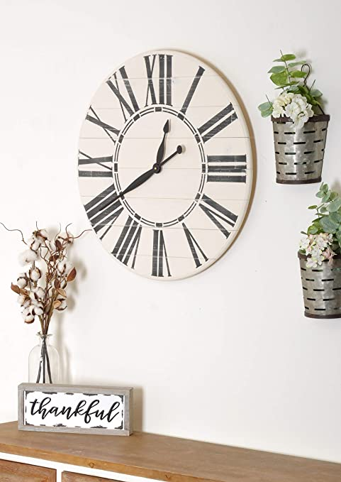 Amazon Com Brandtworks Oversized Antique Wall Farmhouse Clock 24 X 24 White Black Home Kitchen