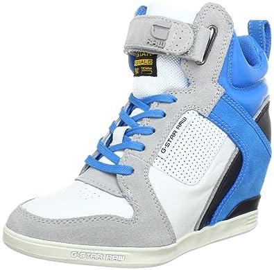 7b08e7bf0a9f G-Star Womens YARD Belle Wedge Lthr Hi-Top Sneakers White Weiß ...