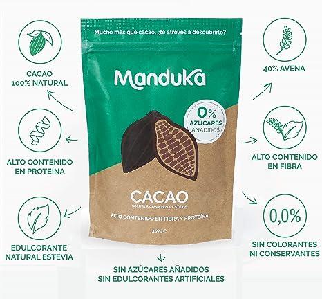 Mix para Batido de Chocolate con Avena, Cacao y Stevia, pack de 350gr de Manduka. Alto Contenido en Fibra, Proteínas, Hierro y Magnesio - Complemento ...