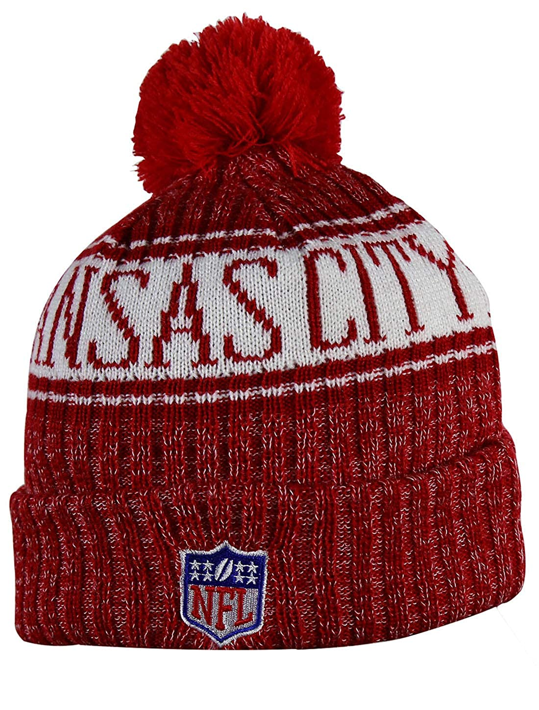 ab648e0ad Amazon.com  KC CHIEFS Adult Winter Knit Beanie Hat With Removable Pom Pom  One Size Fits Most Multicolor  Clothing