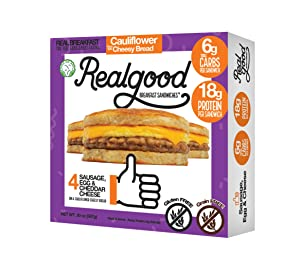 Real Good Foods, Keto-friendly, Low Carb - High Protein - Gluten Free - Sausage, Egg & Cheese Breakfast Sandwiches (20 per case)