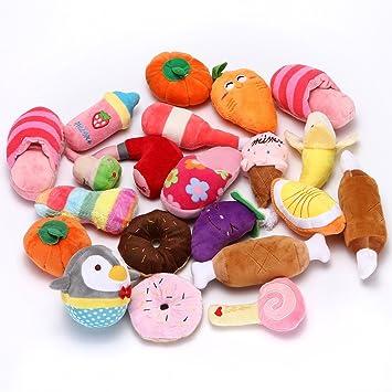 Holeco Squeaky Peluche para mascotas, juguetes de fruta, helado, verduras, zapatillas para
