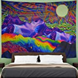 """Amhokhui Psychedelic Abstract Tapestry Bohemian Arabesque Tapestry Colorful Monster Fractal Tapestry Wall Hanging for Room, Polyester & Polyester Blend, Psychedelic Mountain, M/51.2"""" × 59.1"""""""