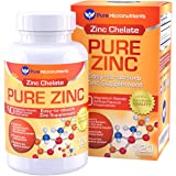 Pure Micronutrients Zinc Supplement, Natural Zinc Glycinate Supplements, (Chelated) 25mg, 120 Count