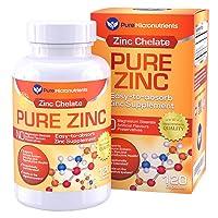 Pure Zinc Supplement, Natural Zinc Glycinate Supplements, (Chelated) 25mg, 120 -...