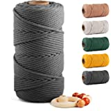 Macrame Cotton Cord 5mm x 109 Yards, ZUEXT Natural Handmade 4 Twisted Braided Cotton Rope Craft Cord for Wall Hanging Weaving