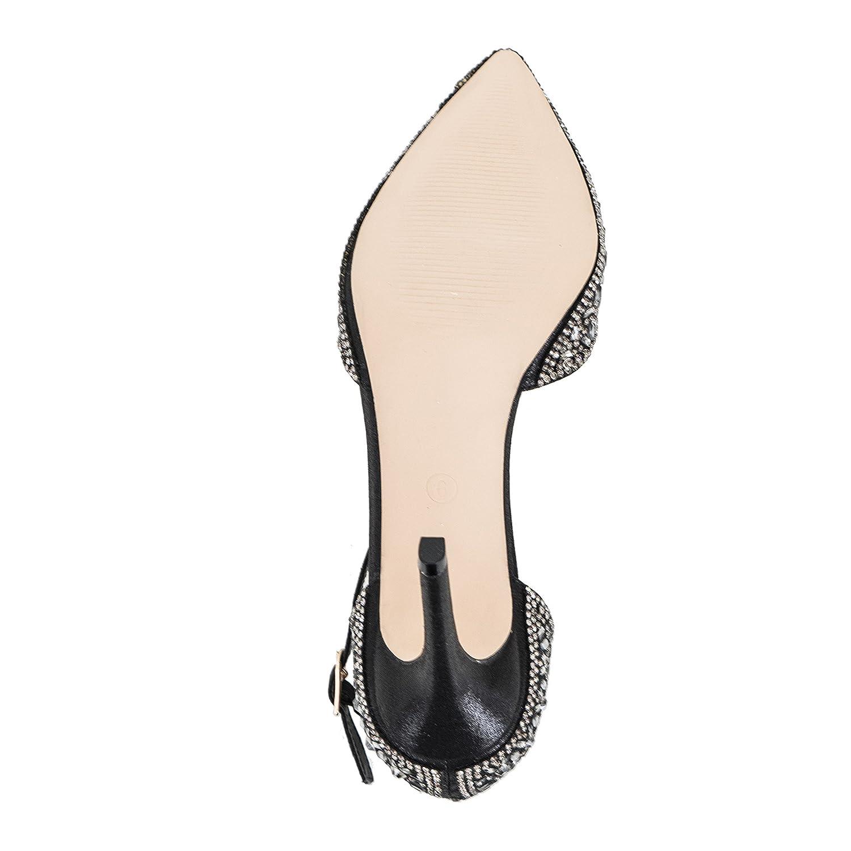 Lauren Lorraine Rose Crystal Black Women's Evening Dress High Heel Ankle Strap D'Orsay Pointed Toe Wedding Pump B07B8W1JHK 8 B(M) US|Black