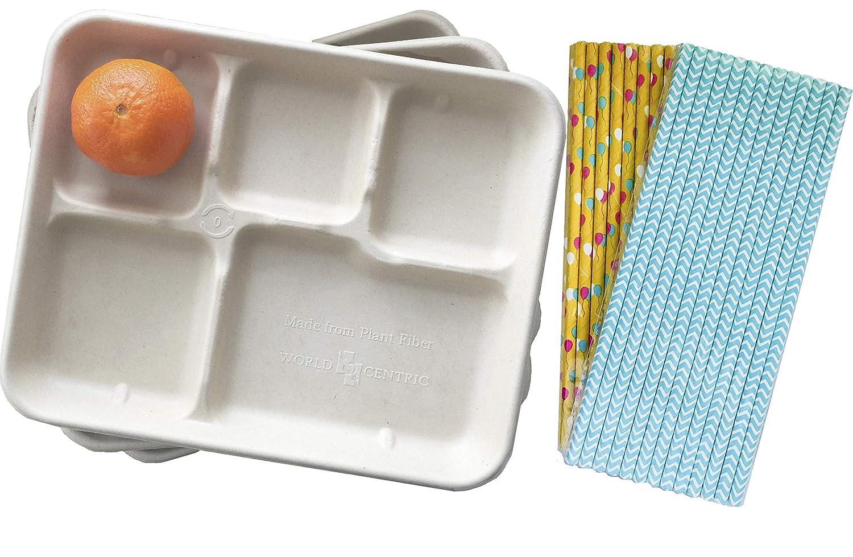 Fuera de la caja papel biodegradable estilo retro Almuerzo -24 Bandejas y papel de estraza Pajitas - Pack de 50 rojo, papel kraft marrón: Amazon.es: Amazon. ...