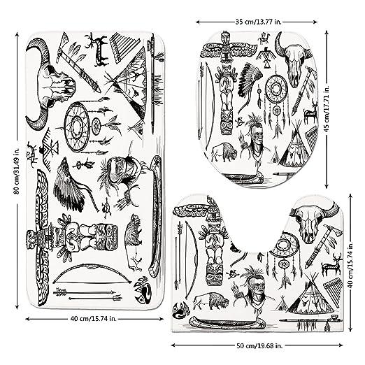 Juego de alfombrillas de baño de 3 piezas, estilo tatuaje étnico ...
