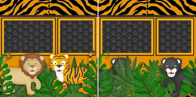 5 Double Page Layouts ANIMAL KINGDOM Scrapbook Set