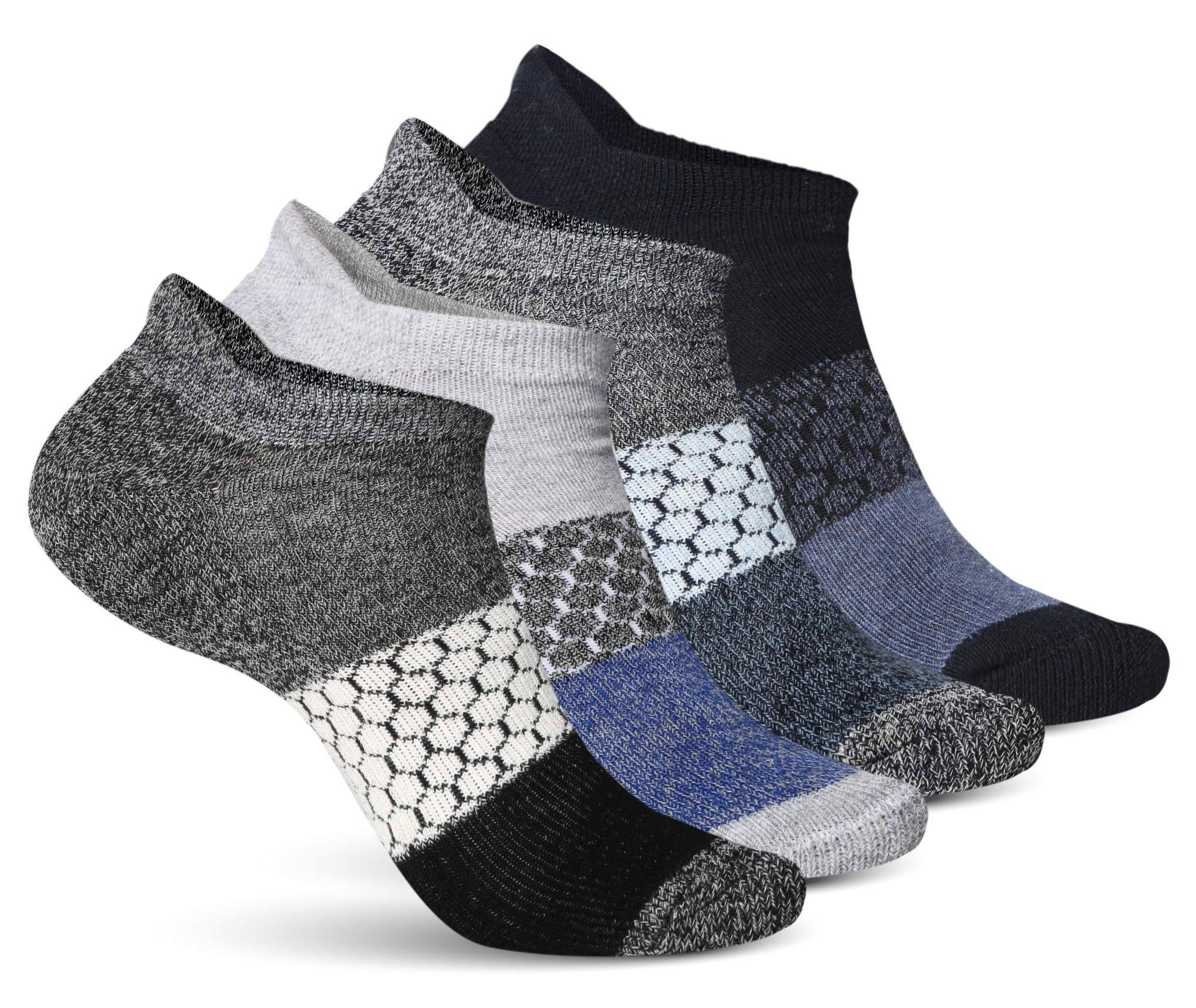 Athletic Socks for Women - Ladies Ankle Socks - No Show Low Cut Cushioned Performance Sports Tab Socks with Arch Support for Running, Hiking, Workout and More - Soft & Comfortable Fit - 4 Pack by Pembrook