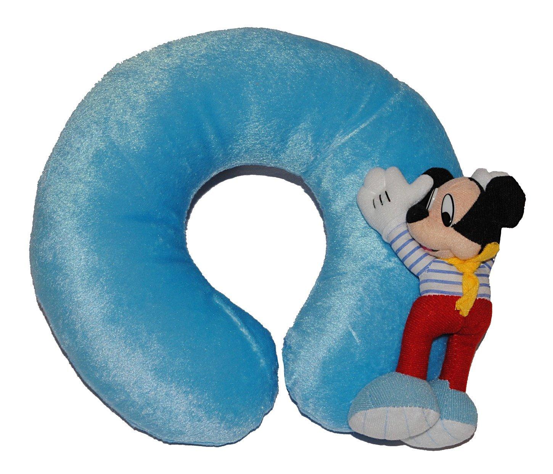Nackenrolle mit 3-D Mickey Mouse - Kissen Maus blau Nacken Nackenkissen Nackenhörnchen für Kinder bunt Kinder-Land