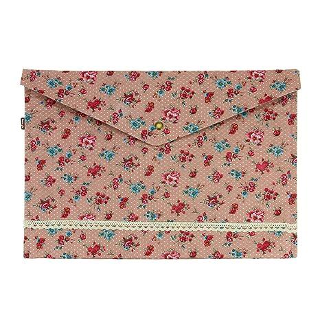 Bxt® Funda portadocumentos, formato A4, almacenamiento de tela, diseño de flores pequeñas