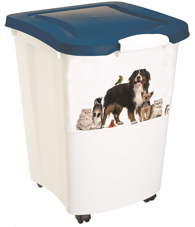 Rotho Aufbewahrungsbox für Tierfutter aus Kunststoff (PP) - Futtertonne mit Rollen & 18 kg Volumen - Futterbehälter für Hunde, Katzen, Pferde, uvm. - Tierfutterkiste mit luftdichtem Deckel 4550010496 4550010496_10496