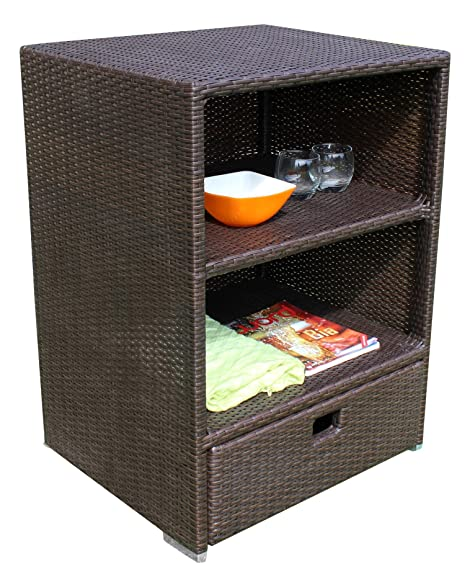 Amazon.com : Sunjoy Wicker Outdoor Storage Cabinet : Garden & Outdoor