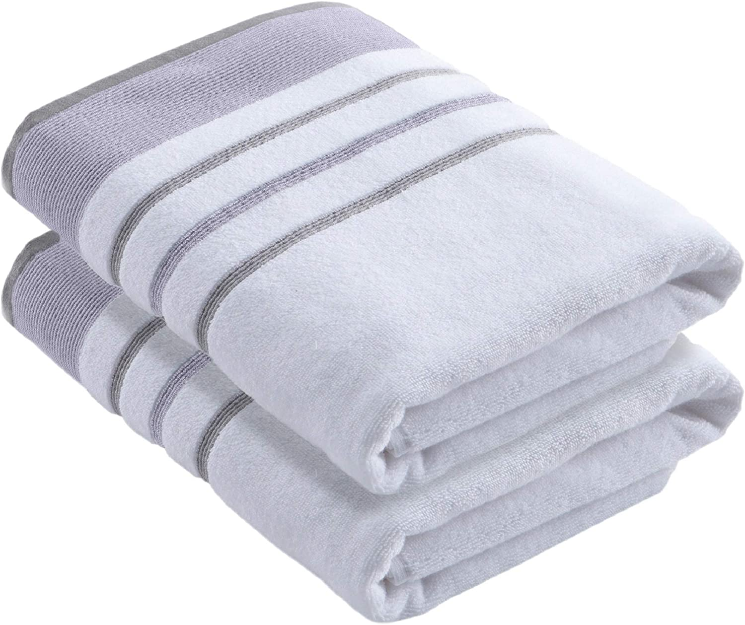 Turkish Cotton Striped 2-Pack Bath Towel Set (30 x 54 inches) Oversized and Absorbent Luxury Quick-Dry Towels. Noelle Collection (Set of 2, Lavender / Grey)