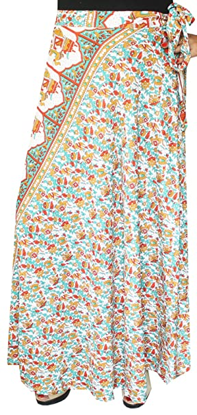 ce58b5939 Long Rayon Wrap Around Skirts India Women (Green, One Size) at Amazon  Women's Clothing store: