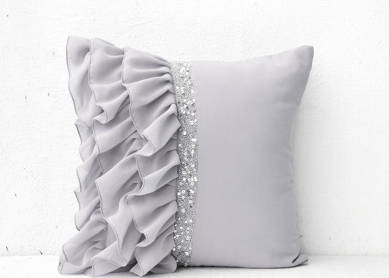 amazoncom silver grey ruffled sequin throw pillows with hand  - amazoncom silver grey ruffled sequin throw pillows with hand embroideryx pillows in georgette decorative throw pillow covers handmade graycushion