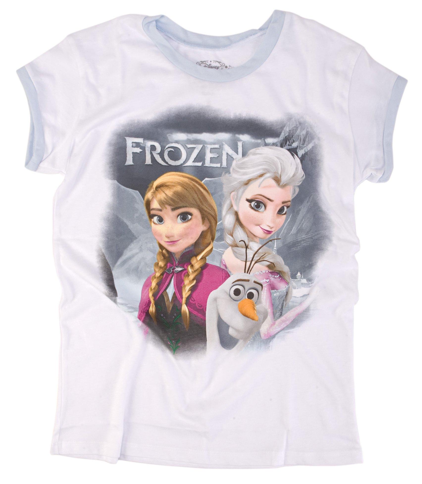 Mighty Fine Disney Frozen Trio Juniors Fade White Shirt (Extra Large)