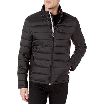 GUESS Men's Puffer Jacket, Black, Medium at Men's Clothing store