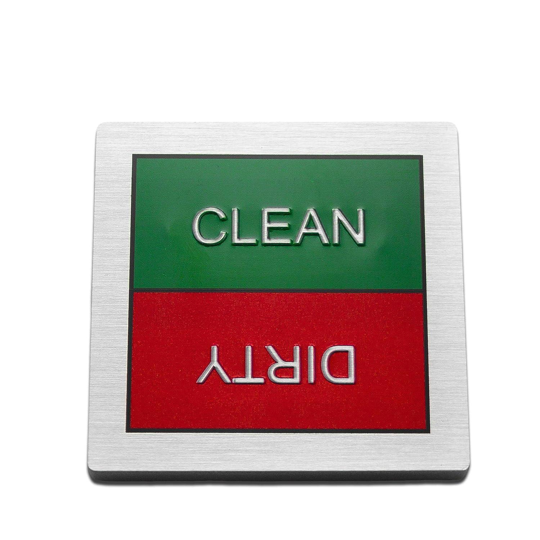 食器洗い機対応 Dirty Clean マグネットサイン - 傷がつかない回転式デザイン - つや消しアルミニウムメタル - レッドとグリーンの正方形 メタリック文字付き   B07KZRHVRL