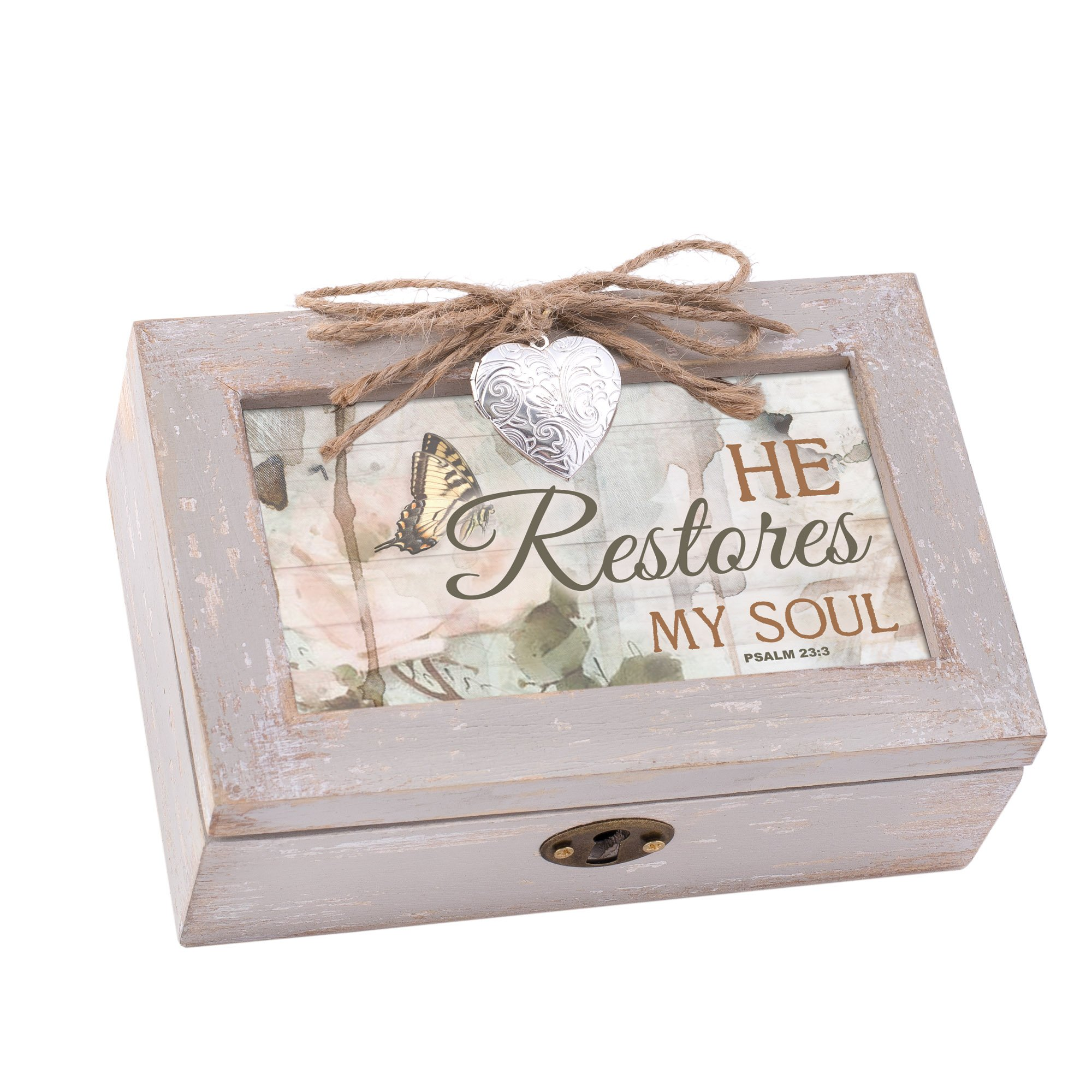 Cottage Garden Restores Soul Natural Taupe Wood Locket Petite Music Box Plays How Great Thou Art