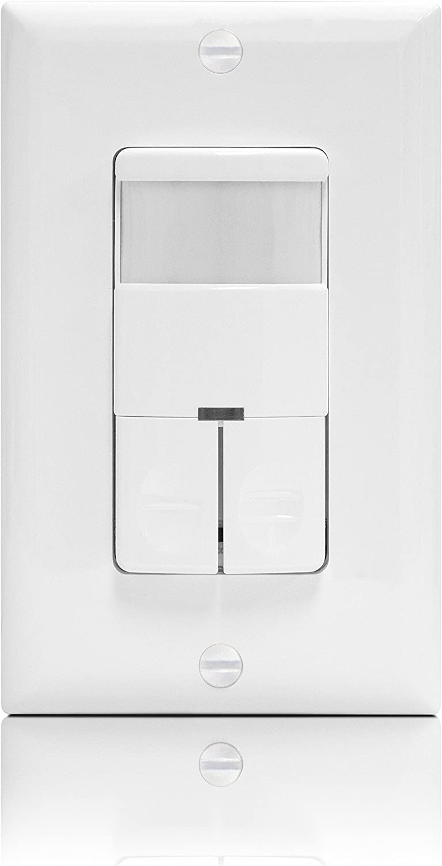 Enerlites dwos-jd Sensor de movimiento interruptor doble relé, BI-LEVEL ocupación/vacante Sensor, PIR pasivo por infrarrojos, sin neutro requiere de alambre, color blanco: Amazon.es: Bricolaje y herramientas